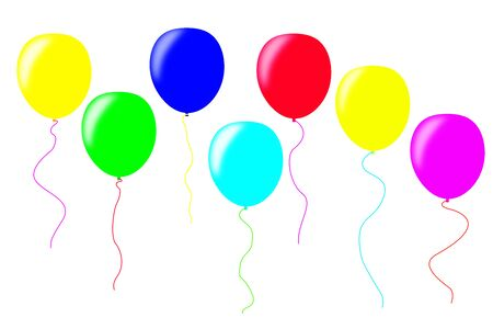 On the white surface, multi-colored three-dimensional balloons. Can be used as a template for labeling.