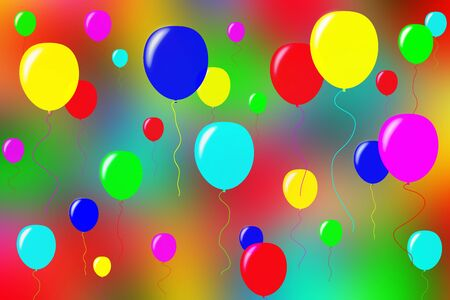 Volumetric multi-colored balloons on a blurred colored surface