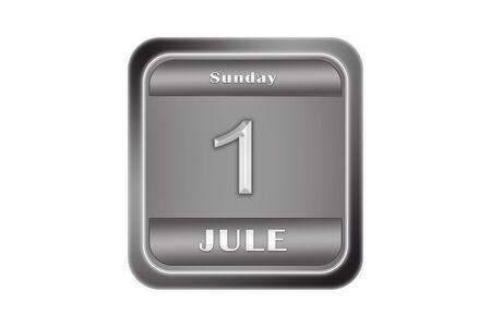 Date July 1, Sunday written on a metal plate