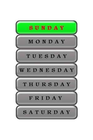 Among the list of days of the week, Sunday is highlighted in red on a green background.
