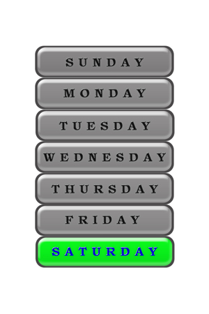 Among the list of days of the week on a green background blue highlighted Saturday.  The rest of the days are black on a gray background.