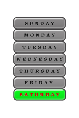 Among the list of days of the week on a green background red highlighted Saturday.  The rest of the days are black on a gray background. Stock Photo - 100355090