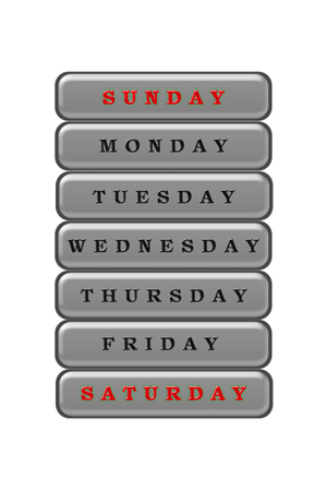 Among the list of days of the week, Saturday and Sunday are highlighted in red on a gray background.  The rest of the days are black on a gray background.