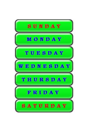 Among the list of days of the week on a green background, Sunday and Saturday are highlighted in red the rest of the days are highlighted in blue. Stock Photo