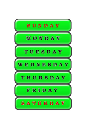 Among the list of days of the week on a green background, Sunday and Saturday are highlighted in red the rest of the days are highlighted in black.