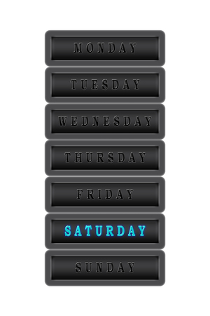 Among the list of days of the week Saturday is highlighted in blue on a dark background.  The rest of the days are black on a dark background. Stock Photo