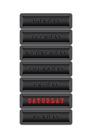 Among the list of days of the week, Saturday is highlighted in red on a dark background.  The rest of the days are black on a dark background. Stock Photo - 100448570