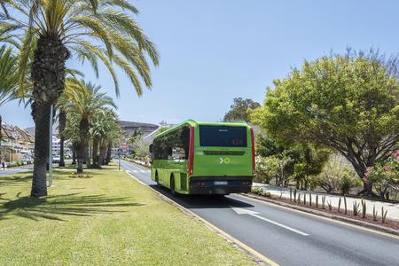 Spain, las Americas - May 15, 2018: - VOLVO passenger bus of Titsa transport company. Transport company Titsa performs passenger transportation on the island of Tenerife.