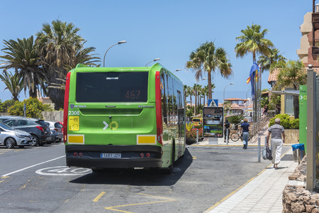 Spain, La Caleta - May 15, 2018: - Scheduled passenger bus Scania transport company TICA. Transport company TICA performs passenger transportation on the island of Tenerife. Editorial