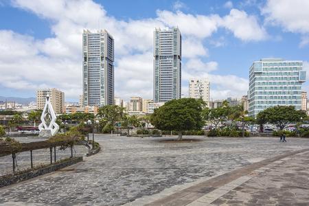 Spain, Tenerife, Santa Cruz de Tenerife - May 13, 2018: high-rise buildings, residential quarter, next to the concert hall Auditorio de Tenerife Editorial