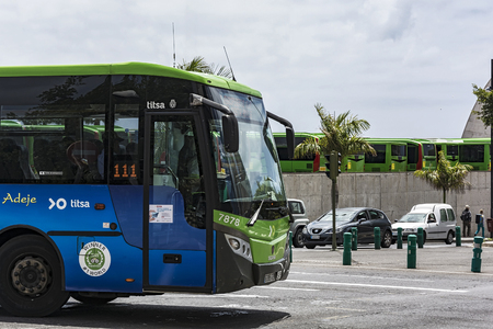 Spain, Tenerife island, Santa Cruz de Tenerife - May 13, 2018: public bus Of the transport company Titsa