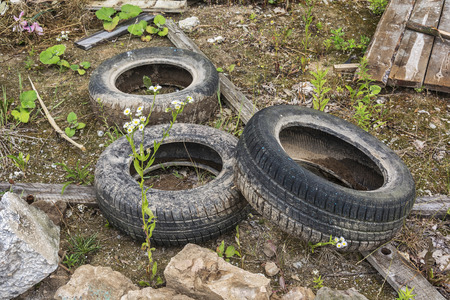 Environment and ecology. Car tires and construction debris dumped on the ground