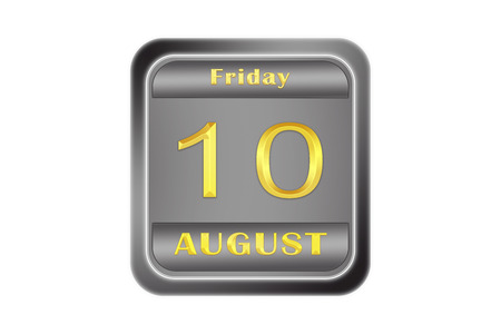 On a embossed metal plate, the gold date stamping is August 10, Friday Stock Photo