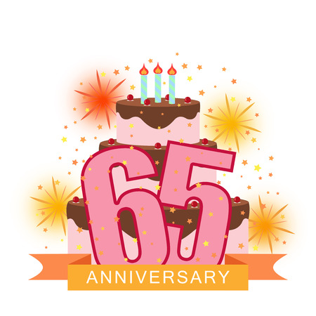 Illustrated image with the number sixty-five, cake, fireworks and star rain