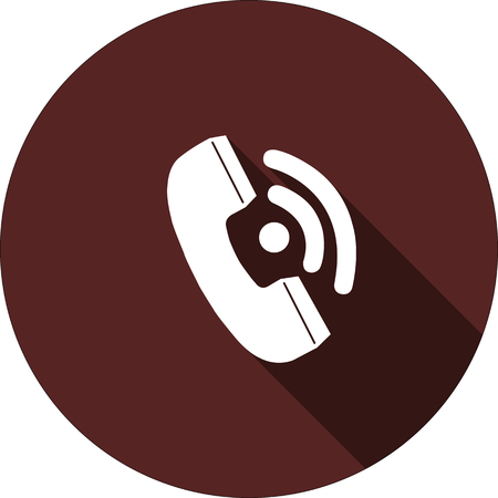 Vector. Handset with shadow on the circle of dark red color Illustration