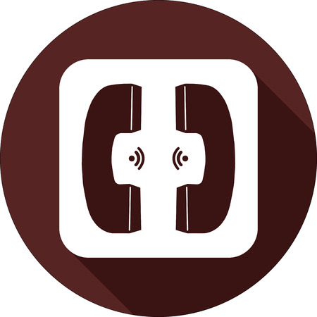 Vector. White square with two handsets on a circle of dark red Illustration