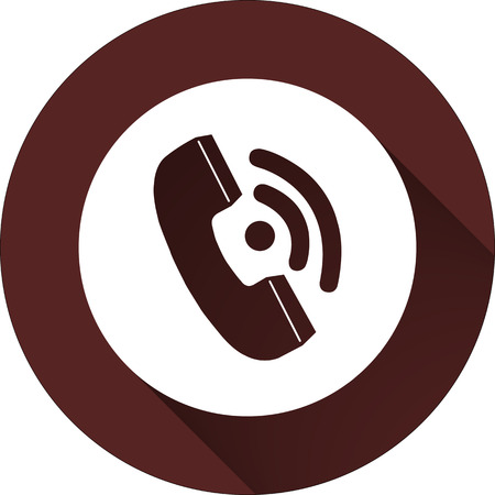 Vector. White circle with handset on the circle of dark red color