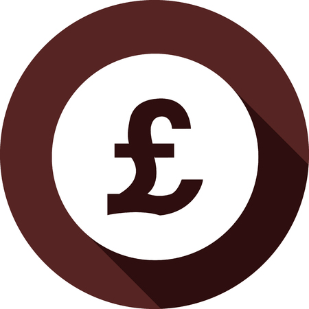 Vector. White circle with a pound sterling Icon on a dark maroon circle Vetores