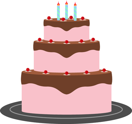 Celebratory cake with three candles, vector image