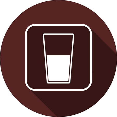 Vector. Glass with liquid in the contour of a square with a shadow on a circle of maroon color