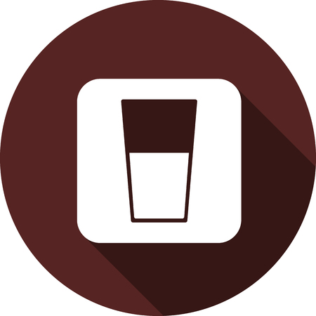 Vector. White square with the image of a glass of liquid on a circle of maroon color