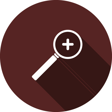 Vector image. The magnifying glass icon with the symbol of the increase of the range maroon