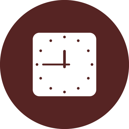 Vector image. Icon square watches on round maroon