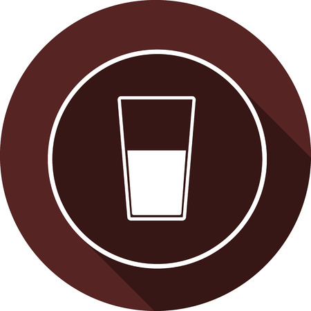 Vector. Glass with liquid in the contour of a circle with a shadow on a circle of maroon color Illustration