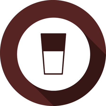 Vector. Glass with liquid in a white circle on the background of a circle of maroon color