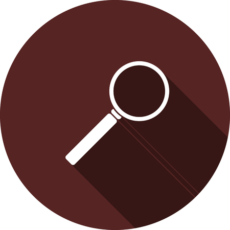 Vector image. The magnifying glass icon on round maroon Illusztráció