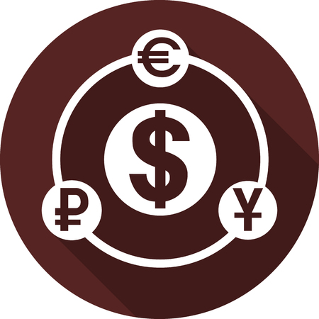 Currency symbols are looped in contours and on white circles, vector image Ilustração