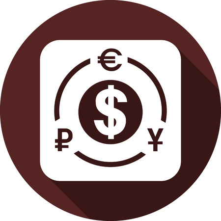 Vector image. Currency symbols ringed on a white square