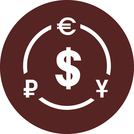 Vector image. Currency symbols on a circle of maroon color