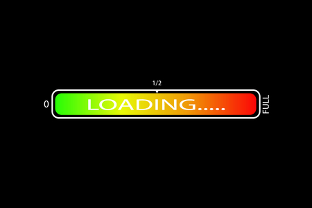 Vector image. graphic loading scale on black background