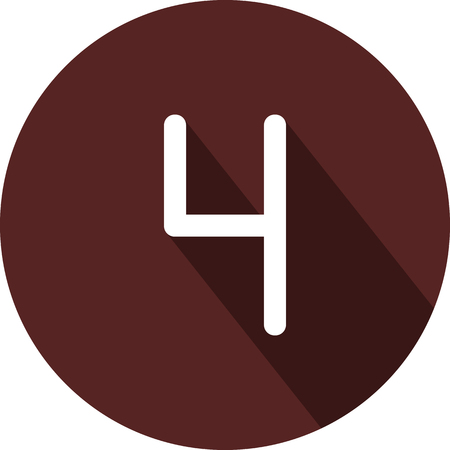 Vector image. Icon with the number four on a circle of maroon color Illusztráció