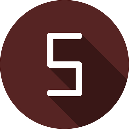 Vector image. Icon with the number five on a circle of maroon color