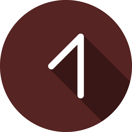Vector image. Icon with the number one on the circle of maroon color