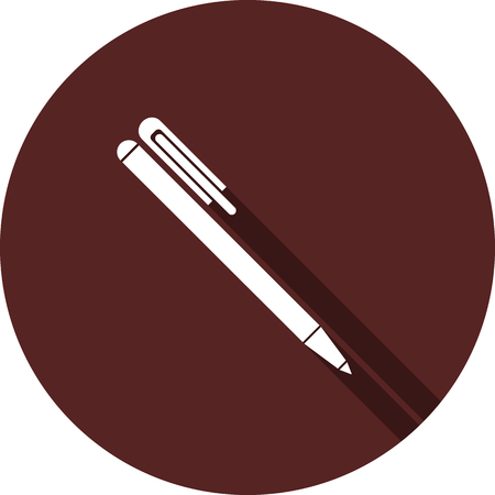 Vector. Handle icon with a cap on the circle of maroon color