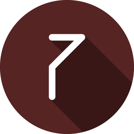 Vector image. Icon with the number seven on a circle of maroon color Illustration