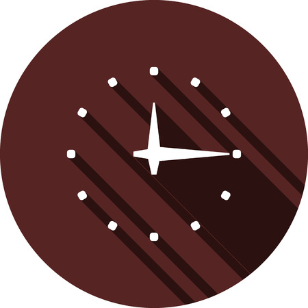 Vector image. Clock icon on a circle of maroon color