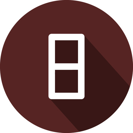 Vector image. Icon with the number eight on a circle of maroon color