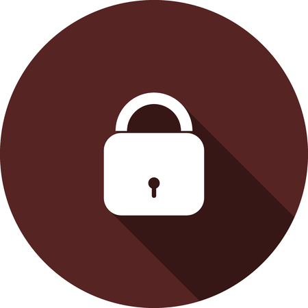 Vector image. Icon of closed padlock on a circle of maroon color