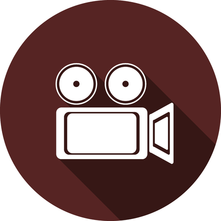 Vector image. Icon cameras on round maroon