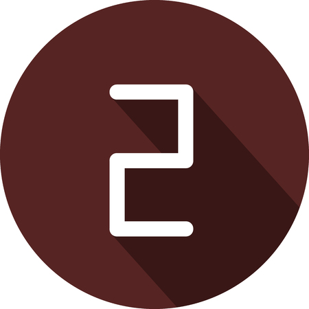 Vector image. Icon with the number two on a circle of maroon color
