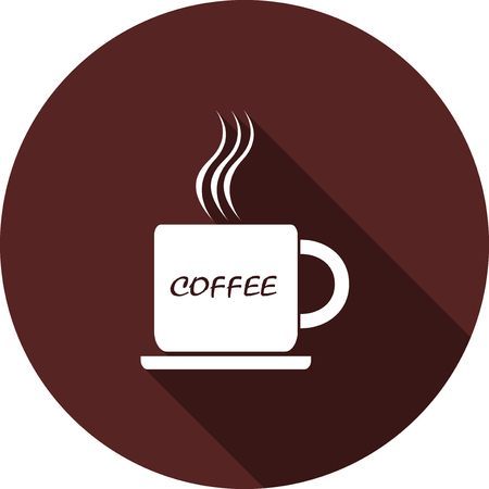 Icon of a cup of coffee. White flat image with a long shadow Ilustrace