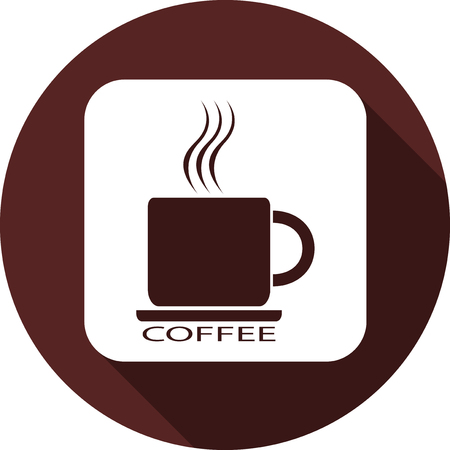 Icon of a cup of coffee on a white square. White flat image with a long shadow.