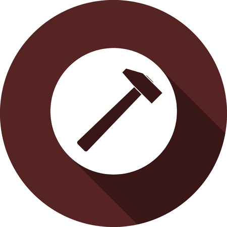 Icon of a hammer on a white circle. White flat image with long shadow.