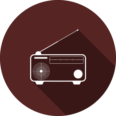 The transistor receiver icon. White flat image with a long shadow
