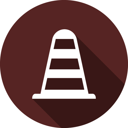 Icon is a traffic cone. White flat image with long shadow