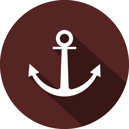 Anchor icon. Flat white image with long shadow